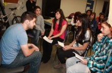 Students interviewing Jorge Alcazar